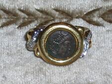 Vintage Diamond 18KT Yellow Gold Round Roman Coin Cocktail Ring w/10 Diamonds