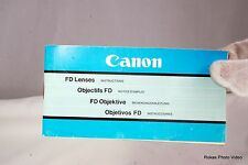 Canon FD Lenses List Manual Guide (EN) manual focus Vintage
