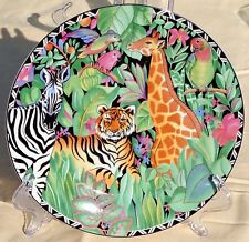 SAKURA Ultra Porcelain MAGIC JUNGLE Salad Plate Sue Zipkin Tiger Tucan XLNT 1995