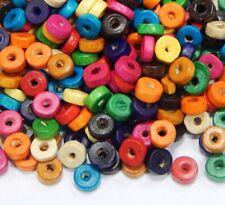 250 Holzperlen 8mm Rondell Bunt Mix Bastelholz Schmuckherstellung H55