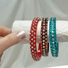 Vintage Set of 3 Crystal Acrylic Bollywood Wedding Bangle Bracelets