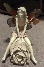 """Enchanted Wings Fairy Sitting on Log w/ Copper Butterfly 7 1/2"""" Tall"""