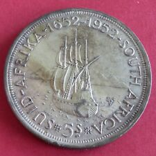 SOUTH AFRICA 1952 GEORGE VI FOUNDING OF CAPETOWN SILVER 5 SHILLINGS CROWN