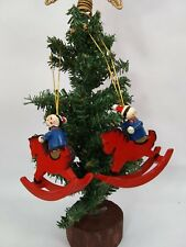 Christmas Ornament vintage wooden hand painted clown on rocking horse lot of 2