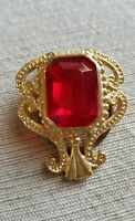 Vintage Red Glass Stone Gold tone Scarf Guard Clip