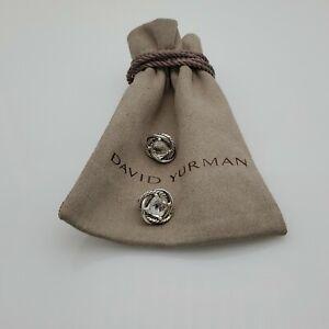 David Yurman Sterling Silver 925 7mm White Topaz Infinity Earrings