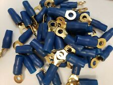50 Pack Gold Plated 4 Gauge Crimp Ring Terminal with Blue Insulator