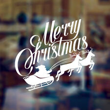 MERRY CHRISTMAS GREETINGS DECORATIVE WINDOW ART WALL STICKER DECAL XMAS SANTA