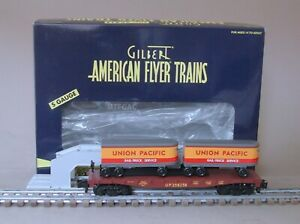 American Flyer 6-47983 Union Pacific Flatcar Piggyback(TOFC) with Unloading Ramp