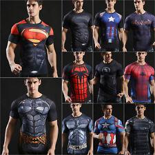 Mens Marvel Superhero Compression T-shirt Cycling Sports Fit Slim Gym Tee Shirts