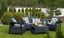 Dark Grey Resin Wicker 4 Piece Patio Conversation Collection Outdoors Furniture