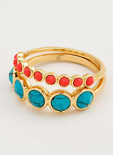 Gorjana Gypset Gemstone Turquoise/Pink 18K Gold Plated Rings Set of 2 Size 8 NEW