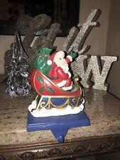 Heavy 2 Lb. Resin Santa Sleigh Christmas Stocking Holder Hanger Holly & Toy Bag