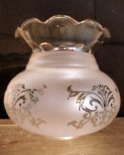 TULIPE LAMPE PETROLE Lamp Tulip Glass Victorian Art Nouveau Verre ambré & dépoli