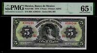 Mexico 5 Pesos  1970  PMG 65 EPQ UNC Pick # 60k Series BIG