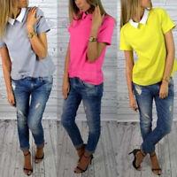 Stylish Womens Casual Chiffon short sleeve top shirt blouse New UK Size 8-14