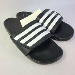 Adidas Adilette Comfort ADJ Slides Sandals Slipper Black White Mens 11