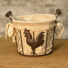 Lined ~CHICKEN WIRE EGG BASKET~ Primitive Rustic French Country Chicken Rooster
