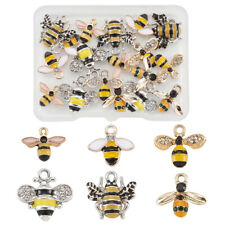 1 Box Alloy Enamel Rhinestones Bees Pendants Charms for Jewelry Crafts Making