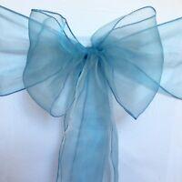 dusty blue organza chair sashes chair ties bow ribbon wedding anniversary decor