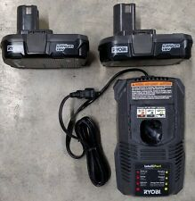 NEW Ryobi 18V Lithium Ion Battery 2 Pack with Charger Model# P102
