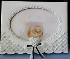 WHITE GUEST BOOK WITH FRONT PHOTO INSERT AND  PEN,