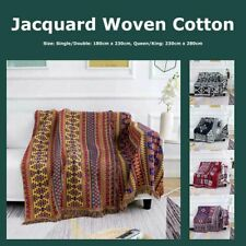 Jacquard Woven Reversible 3 Layer Cotton Blend Blanket Bohemian Tribal Geo Rug