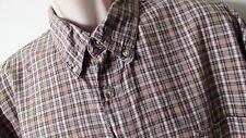 Columbia Brown Green Beige Plaid Cotton Long Sleeve Button Front Mens XL XLarge