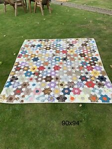 Beautiful Vintage Chintz Hand Sewn Made Patchwork Large Bed Spread