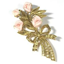 1928 Gold Tone Brooch Pink Porcelain Roses Bouquet Bow Pin Seed Pearls