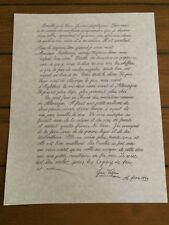 Prop letter from Les Miserables  Jean Valjean to Cossette French