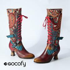 SOCOFY Women's Leather Retro Pattern Buckle Zipper Lace Up Knee Hign