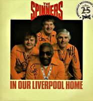 """THE SPINNERS In Our Liverpool Home ORIGINAL AUTOGRAPHS 12"""" Vinyl Double Album HA"""