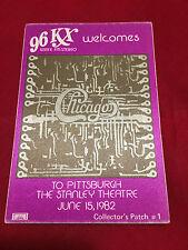 Chicago 96 KX Radio Station Satin Concert Sticker Pittsburgh June 15 1982
