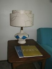 Pair of Mid Century Vintage Style 2 Tier Fiberglass Lamp Shades Atomic Ivory/2