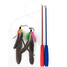Cat play retractable feather teaser three section pets cat toy random color Ew
