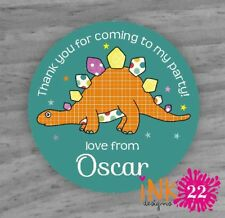 Personalised Stickers Birthday labels Party Bags Sweet Cones Dinosaur x 24