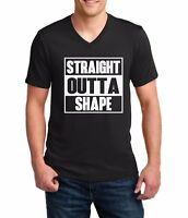 Men's V-neck Straight Outta Shape T-Shirt Funny Workout Tee Shirt Gym Muscle