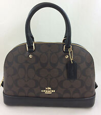 New Authentic Coach F27583 mini Sierra Signature Satchel Purse Bag Brown/Black
