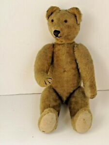 Antique Early Jointed  Mohair, Straw Filled Humpback Teddy Bear
