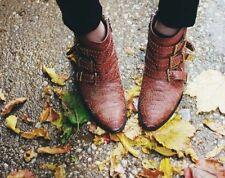 NIB Auth Chloe CHLOÉ Coffee Shot Brown Susanna Python Studded Ankle Boots 38.5