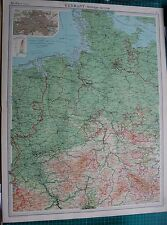 1922 LARGE ANTIQUE MAP- GERMANY-WESTERN SECTION