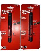 Two Milwaukee 2105 100-Lumen 43-Meter Impact-Resistant Aluminum Penlight