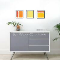 "36"" x 12"" 3-Piece Acrylic Abstract Art - Painting Orange Yellow Gray - US Artist"