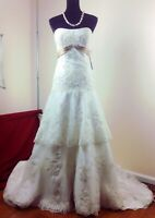 NWT Alfred Angelo White/Champagne Strapless Beaded Wedding Dress Size 10