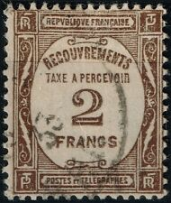 FRANCE RARE TAXE 2F SEPIA N° 62 OBLITERATION TRES LEGERE COTE 30.5 €