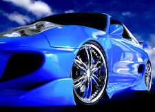 Large wall mural wallpaper for home walls Speedsteer super sports car in blue