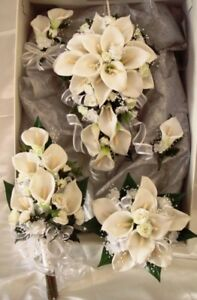 WEDDING BOUQUET SET, BEAUTIFUL WHITE CALLA LILLIES