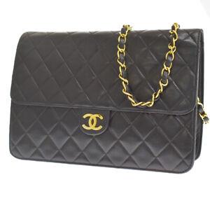Auth CHANEL CC Single Flap Matelasse Chain Shoulder Bag Leather Black 629R399