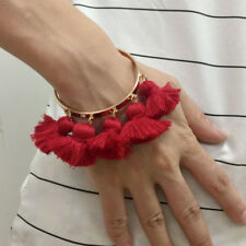 Zara Design RHODIUM GOLD OPEN CUFF BRACELET WITH RED TASSLE FASHION PARTY GIFT